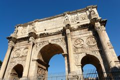 Rome Arco di  Costantino. The Costantino Arch in Rome near the Colosseum Royalty Free Stock Photo