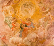 Rome - Assumption of Vigin fresco in cupola of side chapel by Giovanni Lanfranco (1613) in Basilica di Sant Agostino (Augustine) Royalty Free Stock Photo