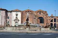 ROME-AUGUST 6: Piazza della Repubblica and the  Fountain of the Naiads in Rome, Italy. Royalty Free Stock Photos
