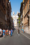 ROME-AUGUST 6: Via Condotti on August 6, 2013 in Rome. Royalty Free Stock Photos