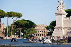 ROME-AUGUST 6: The Via dei Fori Imperiali on August 6,2013 in Rome, Italy. Royalty Free Stock Image