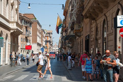 ROME-AUGUST 6: The Via del Corso on August 6, 2013 in Rome. Royalty Free Stock Images