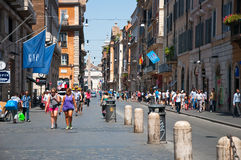 ROME-AUGUST 6: The Via del Corso on August 6, 2013 in Rome. Stock Photos