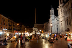 ROME-AUGUST 7: Piazza Navona on August 7, 2013 in Rome. Royalty Free Stock Photo