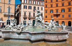 ROME-AUGUST 8: Fountain of Neptune on August 8,2013 in Rome, Italy. Royalty Free Stock Image