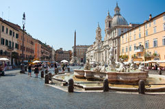 ROME-AUGUST 8: Fountain of Neptune on August 8,2013 in Rome, Italy. Stock Photo