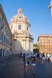 ROME-AUGUST 8: Trajan's column and Santa Maria di Loreto in Rome, Italy. Trajan's Column is a Roman triumphal column in Rome, Ital Royalty Free Stock Photo