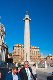 ROME-AUGUST 8:Trajans column and Santa Maria di Lo Stock Photos