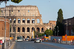 ROME-AUGUST 8: The Via dei Fori Imperiali on August 8,2013 in Rome, Italy. Royalty Free Stock Photography