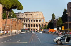ROME-AUGUST 8: The Via dei Fori Imperiali on August 8,2013 in Rome, Italy. Stock Images