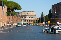 ROME-AUGUST 8: The Via dei Fori Imperiali on August 8,2013 in Rome, Italy. Royalty Free Stock Image