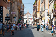 ROME-AUGUST 8: The Via del Corso on August 8, 2013 in Rome. Royalty Free Stock Photo