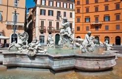 ROME-AUGUST 8: Fontanna Neptune na Sierpień 8,2013 w Rzym, Włochy. Obraz Royalty Free