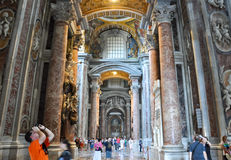 ROME-AUGUST 10: Interior of the St. Peter's Basilica on August 10, 2009 in Vatican. Royalty Free Stock Photos