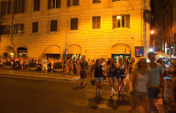 ROME-AUGUST 6: Nightlife in Rome on August 6,2013, Italy. Royalty Free Stock Photography