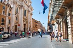 ROME-AUGUST 7: Via del Corso på Augusti 7, 2013 i Rome. Italien. Royaltyfri Bild