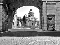 Black and White Photography Rome: Augusto Emperor square,  church and fountain urban landscape Royalty Free Stock Photos