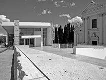 Black and White Photography Rome architecture: Augusto Emperor square, Ara pacis Museum and church. Rome: Augusto Emperor square, modern architecture Ara pacis Stock Photos