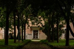 Rome, Autumn Avenue in de villa royalty-vrije stock foto's