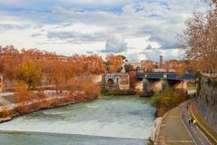 Rome autumn and winter outdoor activities. Autumn or winter outdoor activities along River Tiber in Rome stock image