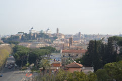 Rome from Aventine Hill. The Aventine hill is one of the seven famous hills of Rome. This is a view of the Capitoline Hill.  Photo taken April 2015 Royalty Free Stock Photos