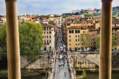 Rome from balcony. ROME, ITALY - APRIL 18: Saint Angelo bridge in April 18, 2012 in Rome Italy. Famous pedestrian bridge in Rome over Tevere river. View from Royalty Free Stock Photo