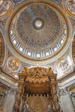 Rome - Baldachin by Bernini  and cupola in Basilica di San Pietro - st. Peter s basilica. Royalty Free Stock Photo