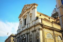 Rome - The baroque portal of church Basilica di Sant Andrea della Valle.  royalty free stock image
