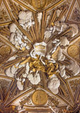 Rome - Baroque relief of angels on the vault in Chiesa Nuova (Santa Maria in Vallicella) Stock Photo