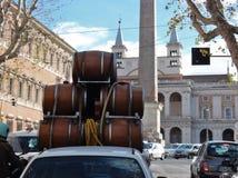 Rome - barrels loading Stock Photo