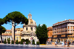 Rome, Basilica and Trajans Column in the forum of Trajan  Stock Images
