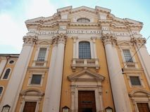 Rome - Basilica of the Saints Ambrose and Charles. Rome, Lazio, Italy - May 30, 2017: Facade of the Basilica of Saints Ambrose and Charles seen from Via del Royalty Free Stock Images