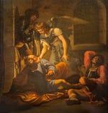 Rome - befrielsen av St Peter målning vid Domenichino (1581 - 1641) i kyrkliga Chiesa di San PIetro i Vincoli Royaltyfri Foto