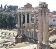 Rome, bird's-eye view of the ancient Fori imperiali with the rem Royalty Free Stock Images