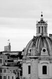 Rome in black and white. Rome with Colonna Traiana in the foreground, the basilica at Palazzo Colonna and the tower of Palazzo del Quirinale in the background Stock Photo