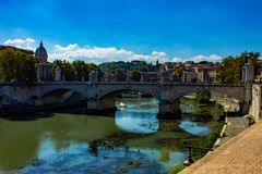 Rome, bridge of the angels, above the flowing Tiber, near Castel Sant' Angelo . stock photo