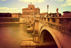 ROME. Bridge of the Holy Angel. ITALY. ROME. Bridge of the Holy Angel - a pedestrian bridge across the Tiber in Rome, built in 134-139. Against the background of Royalty Free Stock Images