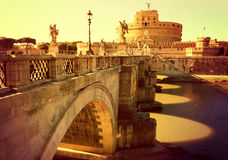 ROME. Bridge of the Holy Angel. ITALY. ROME. Bridge of the Holy Angel - a pedestrian bridge across the Tiber in Rome, built in 134-139. Against the background of Stock Images