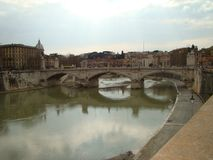 Rome. The bridge over the Tiber. stock photos
