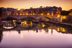 Rome bridge with Tiber river view at dusk Royalty Free Stock Photo