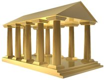 Rome building. 3d golden building of ancient rome Stock Photography