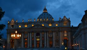 Roman palace lit up on Cloudy night, Rome Stock Photography
