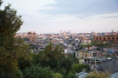 Rome at sunset seen from the hill. Rome, the capital of Italy, at sunset seen from the hill stock images