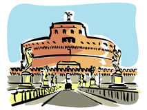 Rome (Castel S.Angelo). Illustration of the Castel S.Angelo in Rome Royalty Free Stock Images