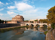 Rome, Castel Sant'Angelo. Rome view with the Castel Sant'Angelo and the Sant'Angelo bridge Royalty Free Stock Photos