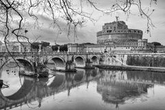 Rome Castel Sant Angelo black and white Stock Photos