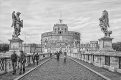 Rome Castel Sant Angelo Mono Stock Photo