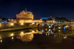 Rome, Castel Sant'Angelo on the Tiber, night landscape. View of the Tiber, the Castle of St. Angelo, and the eponymous bridge Stock Image