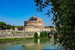 Rome, Castel Sant`Angelo with tiber. stock photos