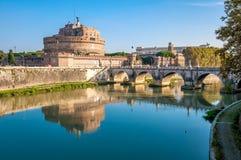 Rome, the castle and the bridge angel. Rome, Castel Sant'Angelo on the Tiber. Architect Bernini Stock Photography